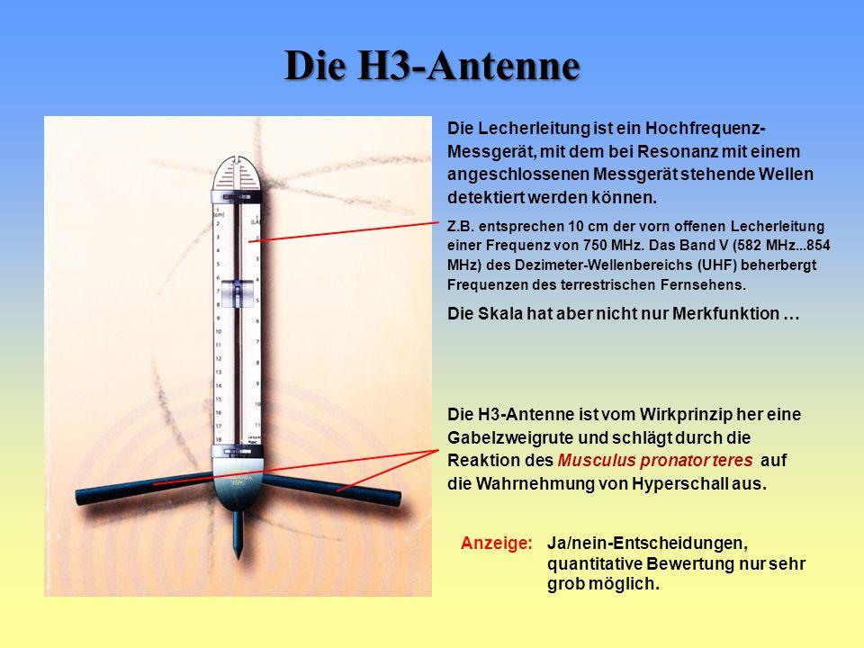 Die H3-Antenne Die H3-Antenne ist vom Wirkprinzip her eine Gabelzweigrute und schlägt durch die Reaktion des Musculus pronator teres auf die Wahrnehmung von Hyperschall aus.