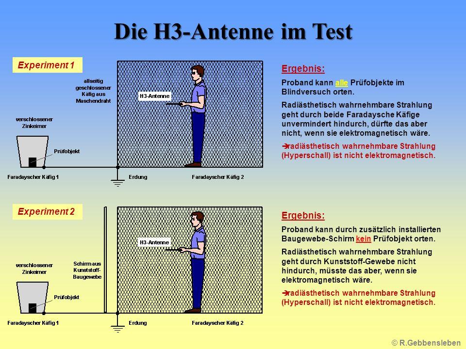Die H3-Antenne im Test Ergebnis: Proband kann alle Prüfobjekte im Blindversuch orten.