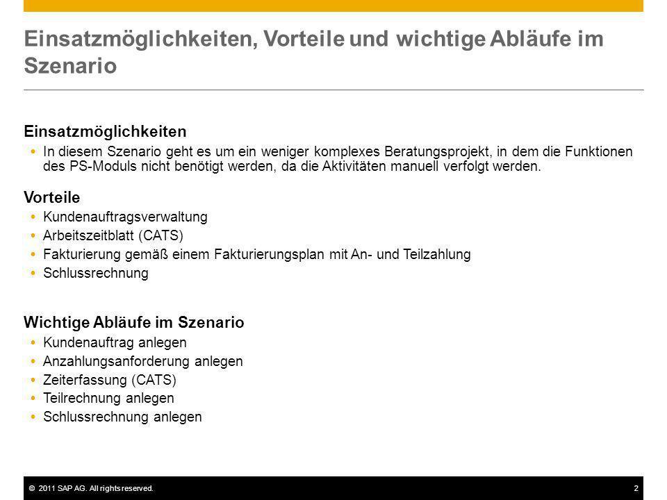 ©2011 SAP AG. All rights reserved.2 Einsatzmöglichkeiten, Vorteile und wichtige Abläufe im Szenario Einsatzmöglichkeiten In diesem Szenario geht es um