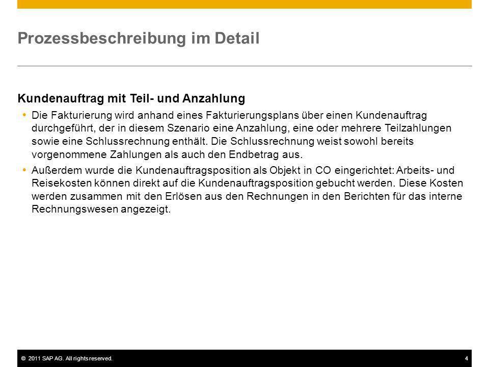 ©2011 SAP AG. All rights reserved.4 Prozessbeschreibung im Detail Kundenauftrag mit Teil- und Anzahlung Die Fakturierung wird anhand eines Fakturierun