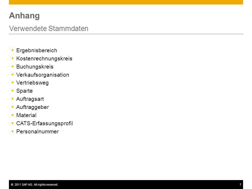 ©2011 SAP AG. All rights reserved.7 Anhang Verwendete Stammdaten Ergebnisbereich Kostenrechnungskreis Buchungskreis Verkaufsorganisation Vertriebsweg