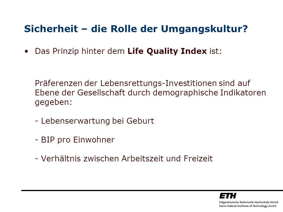 Sicherheit – die Rolle der Umgangskultur? Das Prinzip hinter dem Life Quality Index ist: Präferenzen der Lebensrettungs-Investitionen sind auf Ebene d