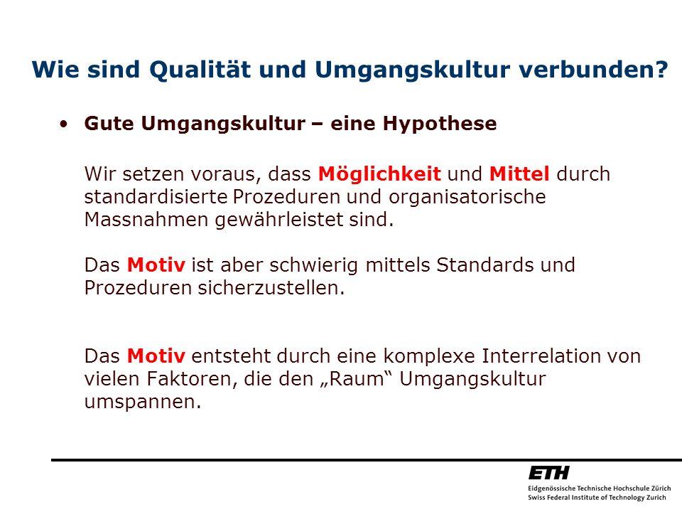 Wie sind Qualität und Umgangskultur verbunden? Gute Umgangskultur – eine Hypothese Wir setzen voraus, dass Möglichkeit und Mittel durch standardisiert