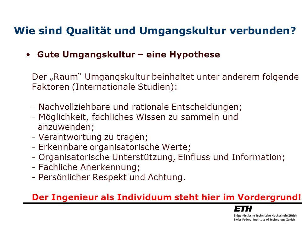 Gute Umgangskultur – eine Hypothese Der Raum Umgangskultur beinhaltet unter anderem folgende Faktoren (Internationale Studien): - Nachvollziehbare und
