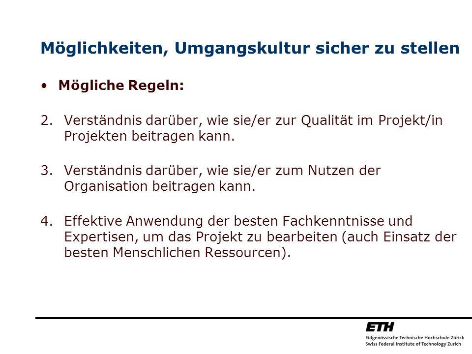 Möglichkeiten, Umgangskultur sicher zu stellen Mögliche Regeln: 2.Verständnis darüber, wie sie/er zur Qualität im Projekt/in Projekten beitragen kann.