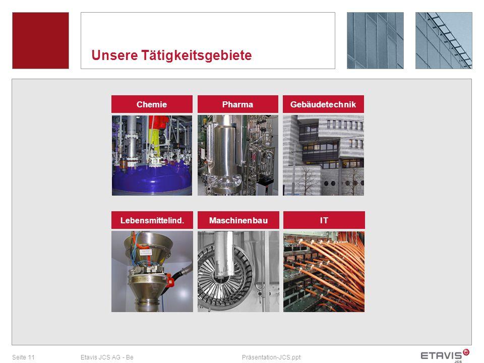 Seite 11Etavis JCS AG - BePräsentation-JCS.ppt Unsere Tätigkeitsgebiete Chemie Gebäudetechnik Lebensmittelind. Maschinenbau Pharma IT