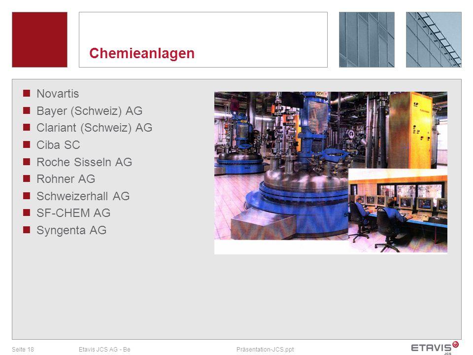 Seite 18Etavis JCS AG - BePräsentation-JCS.ppt Chemieanlagen Novartis Bayer (Schweiz) AG Clariant (Schweiz) AG Ciba SC Roche Sisseln AG Rohner AG Schw