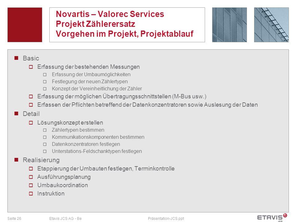 Seite 26Etavis JCS AG - BePräsentation-JCS.ppt Novartis – Valorec Services Projekt Zählerersatz Vorgehen im Projekt, Projektablauf Basic Erfassung der