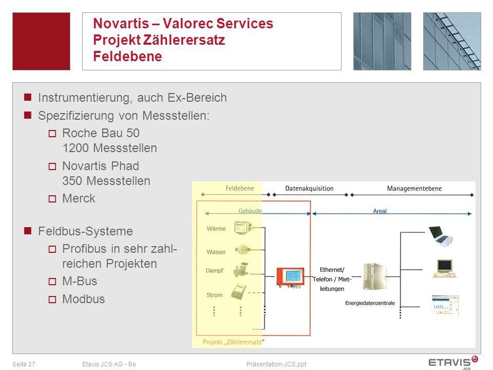 Seite 27Etavis JCS AG - BePräsentation-JCS.ppt Novartis – Valorec Services Projekt Zählerersatz Feldebene Instrumentierung, auch Ex-Bereich Spezifizie