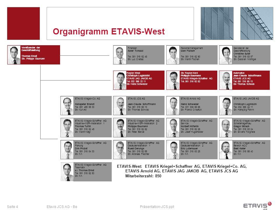 Seite 4Etavis JCS AG - BePräsentation-JCS.ppt Organigramm ETAVIS-West Vorsitzender der Geschäftsleitung Thomas Ernst Stv. Philippe Baumann Sekretariat