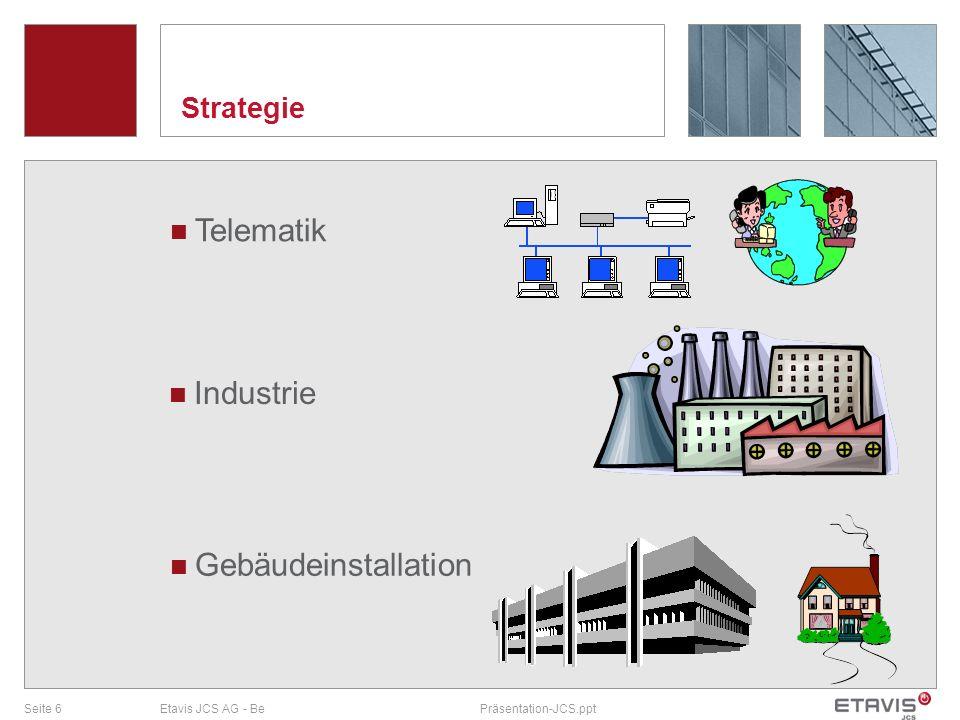 Seite 6Etavis JCS AG - BePräsentation-JCS.ppt Strategie Telematik Industrie Gebäudeinstallation