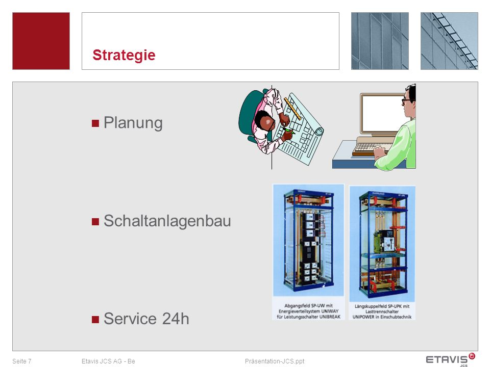Seite 8Etavis JCS AG - BePräsentation-JCS.ppt Strategie Gebäude- und Industrie- automation ETAVIS JCS AG Technisches Gebäudemanagement und Messtechnik ETAVIS ACC Installationskontrolle ETAVIS Services AG