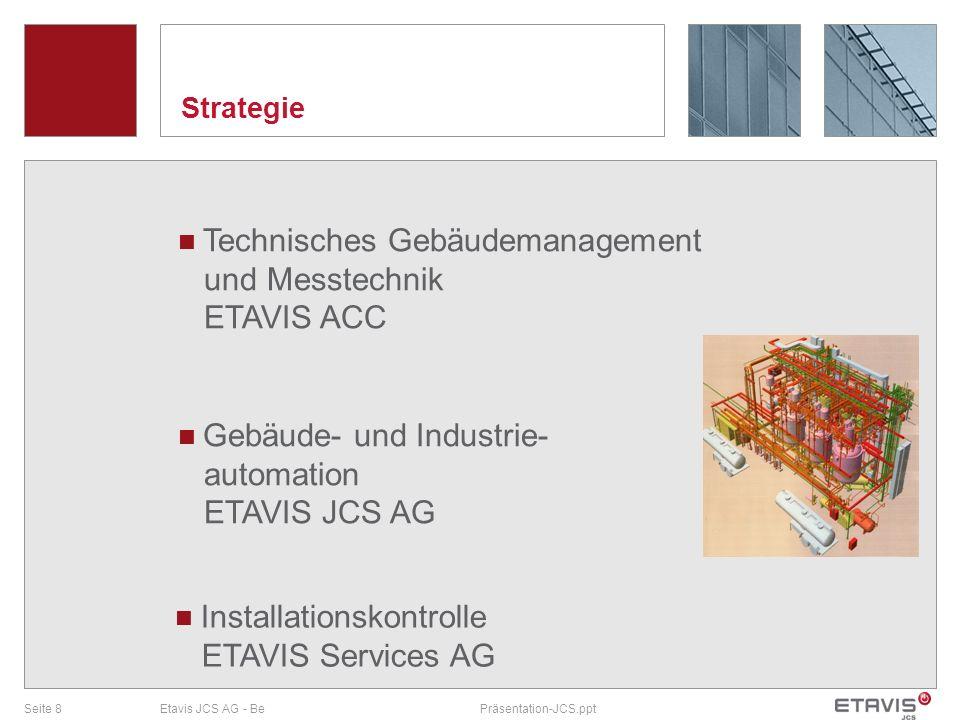 Seite 8Etavis JCS AG - BePräsentation-JCS.ppt Strategie Gebäude- und Industrie- automation ETAVIS JCS AG Technisches Gebäudemanagement und Messtechnik
