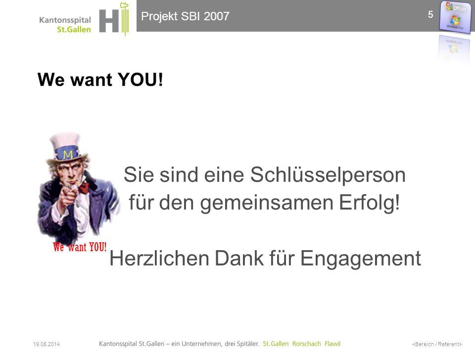 Projekt SBI 2007 We want YOU! Sie sind eine Schlüsselperson für den gemeinsamen Erfolg! Herzlichen Dank für Engagement 19.05.2014 5 We want YOU!