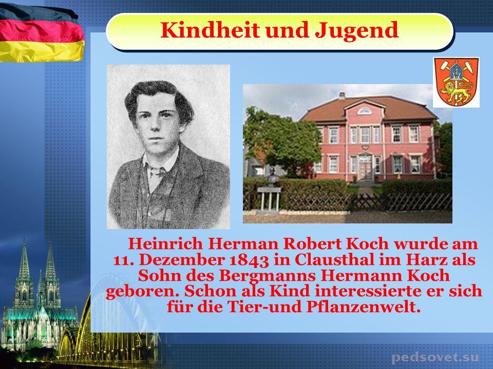 Heinrich Herman Robert Koch wurde am 11. Dezember 1843 in Clausthal im Harz als Sohn des Bergmanns Hermann Koch geboren. Schon als Kind interessierte