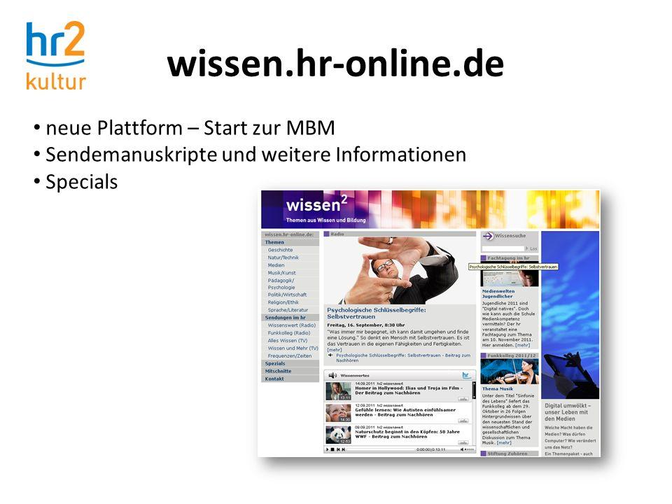 wissen.hr-online.de neue Plattform – Start zur MBM Sendemanuskripte und weitere Informationen Specials