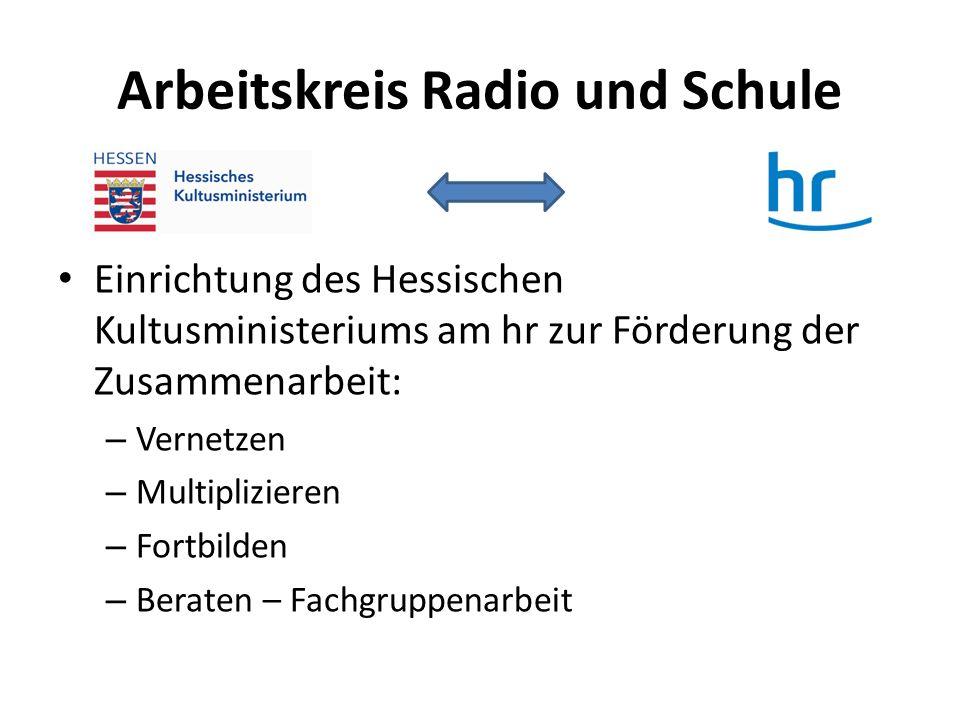 Arbeitskreis Radio und Schule Einrichtung des Hessischen Kultusministeriums am hr zur Förderung der Zusammenarbeit: – Vernetzen – Multiplizieren – For