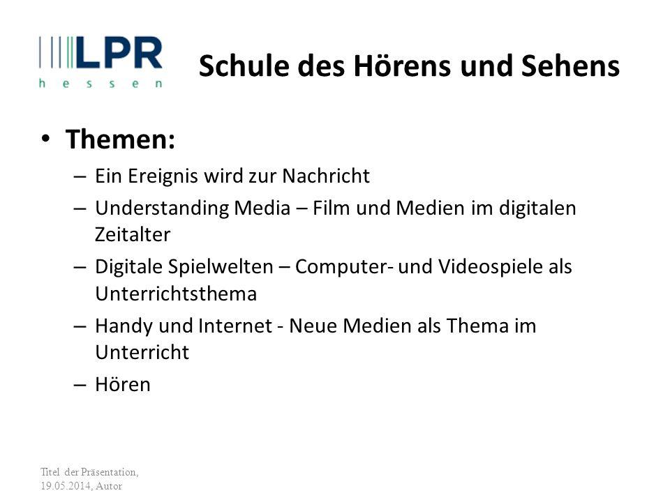 Themen: – Ein Ereignis wird zur Nachricht – Understanding Media – Film und Medien im digitalen Zeitalter – Digitale Spielwelten – Computer- und Videos