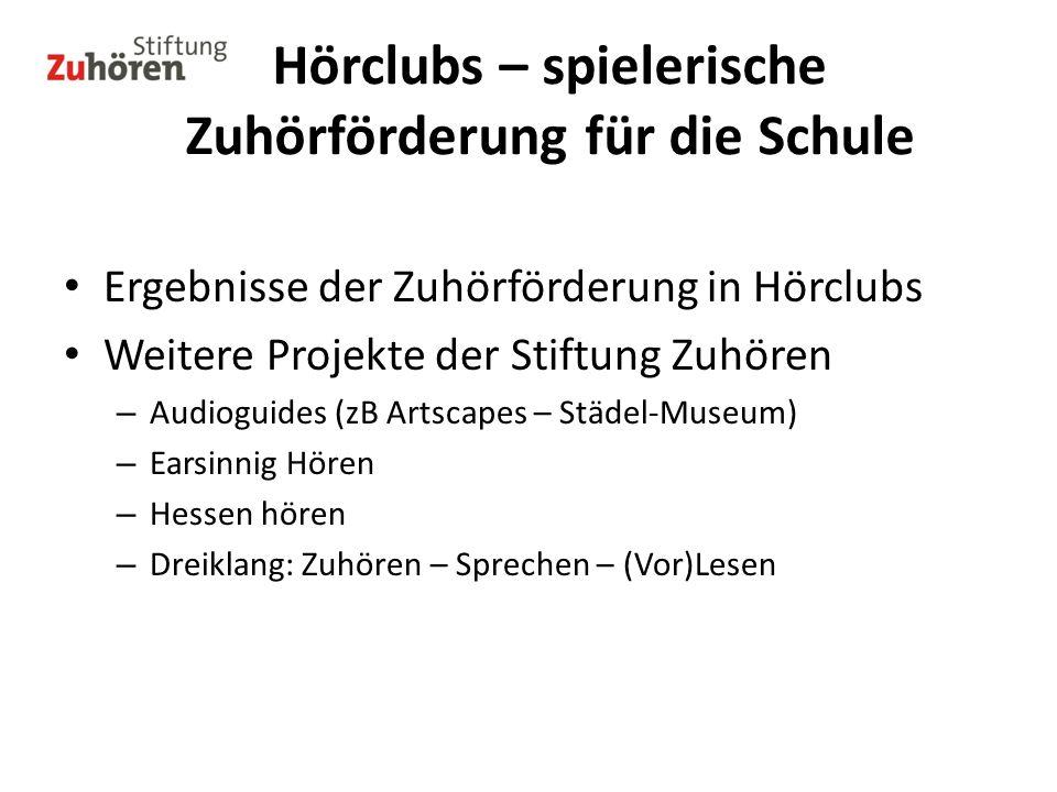 Ergebnisse der Zuhörförderung in Hörclubs Weitere Projekte der Stiftung Zuhören – Audioguides (zB Artscapes – Städel-Museum) – Earsinnig Hören – Hesse