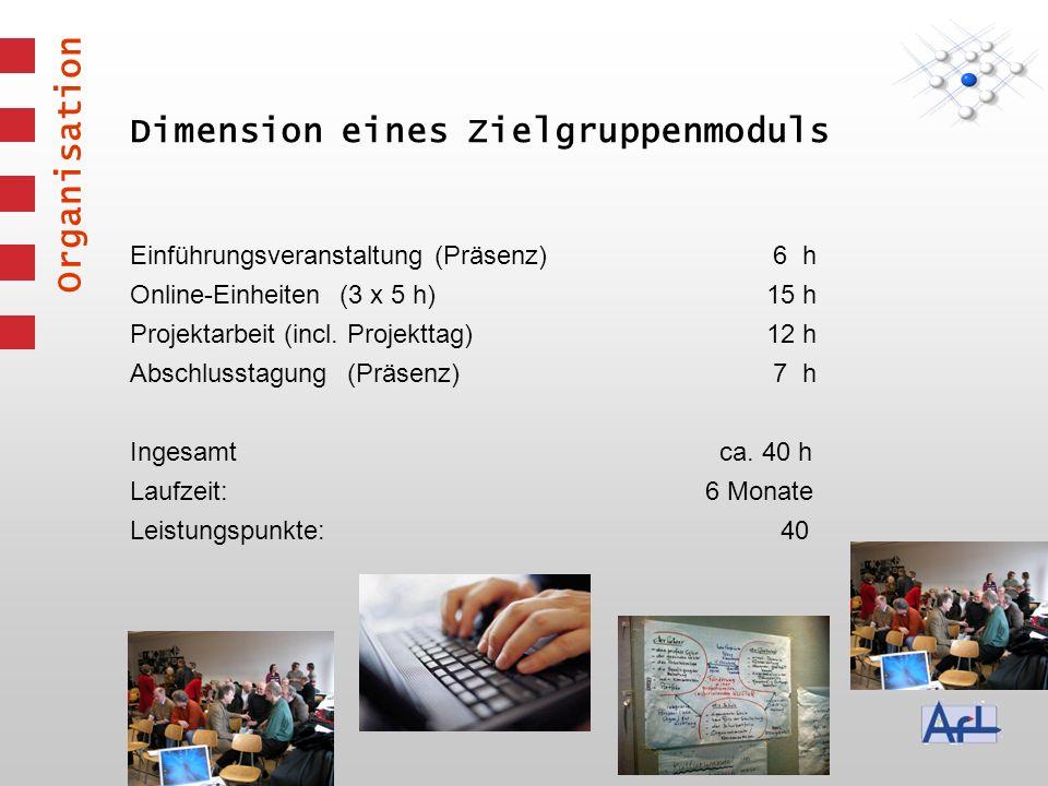 Dimension eines Zielgruppenmoduls Einführungsveranstaltung (Präsenz) 6 h Online-Einheiten (3 x 5 h) 15 h Projektarbeit (incl.