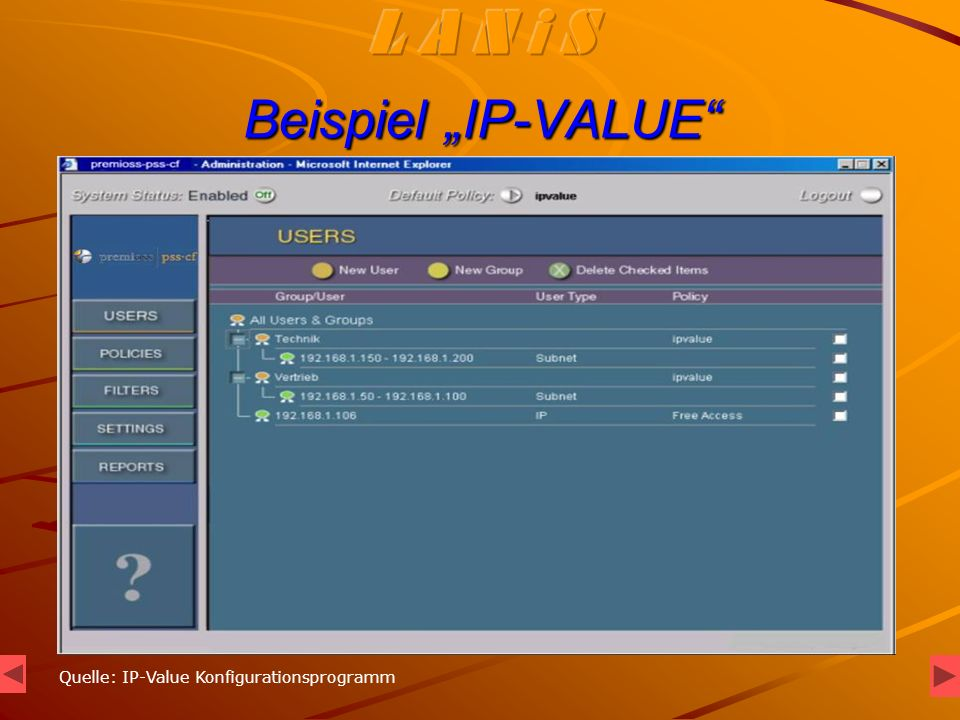 Beispiel IP-VALUE Quelle: IP-Value Konfigurationsprogramm