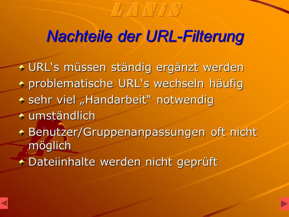 Nachteile der URL-Filterung URLs müssen ständig ergänzt werden problematische URLs wechseln häufig sehr viel Handarbeit notwendig umständlich Benutzer/Gruppenanpassungen oft nicht möglich Dateiinhalte werden nicht geprüft