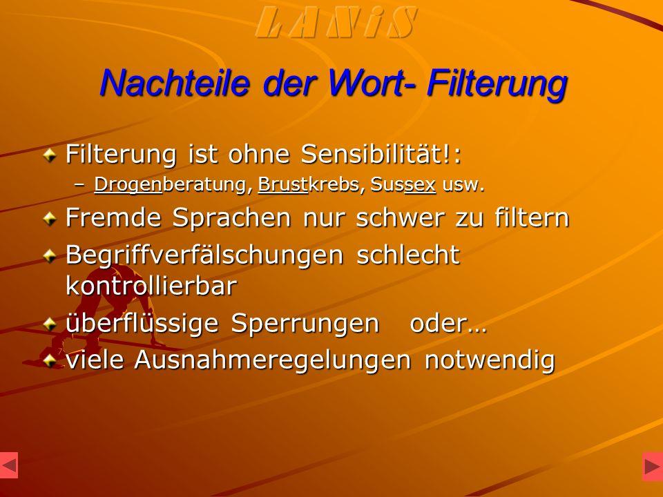 Nachteile der Wort- Filterung Filterung ist ohne Sensibilität!: –Drogenberatung, Brustkrebs, Sussex usw.