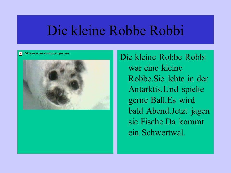 Die kleine Robbe Robbi Die kleine Robbe Robbi war eine kleine Robbe.Sie lebte in der Antarktis.Und spielte gerne Ball.Es wird bald Abend.Jetzt jagen s