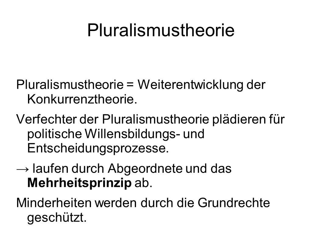 Pluralismustheorie = Weiterentwicklung der Konkurrenztheorie. Verfechter der Pluralismustheorie plädieren für politische Willensbildungs- und Entschei