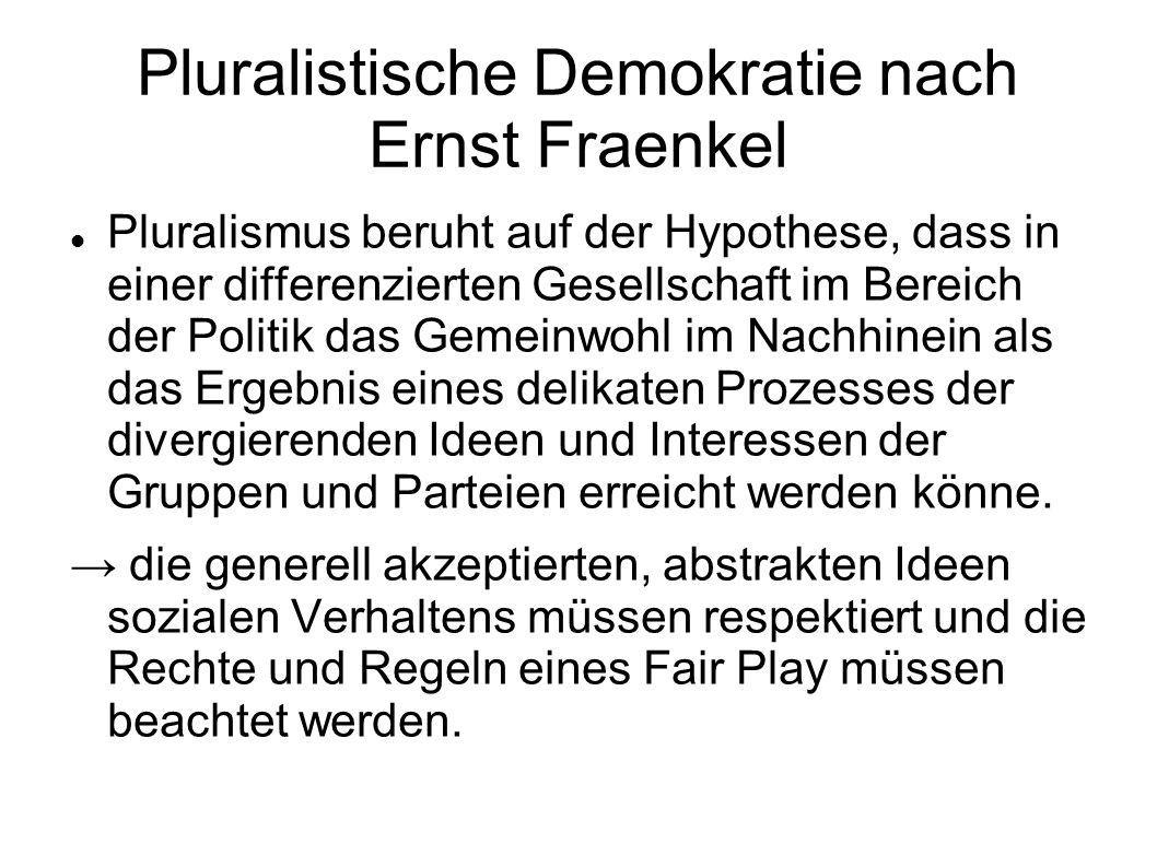 Pluralistische Demokratie nach Ernst Fraenkel Pluralismus beruht auf der Hypothese, dass in einer differenzierten Gesellschaft im Bereich der Politik