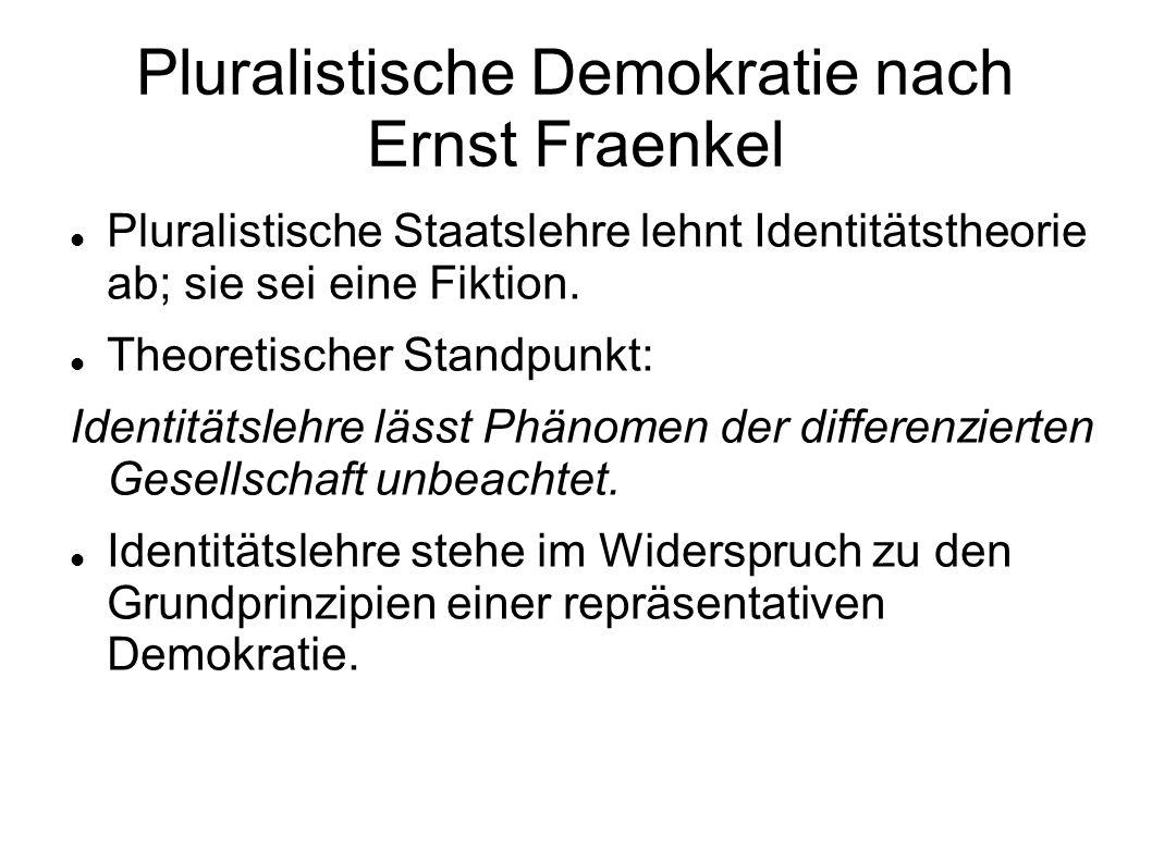 Pluralistische Demokratie nach Ernst Fraenkel Pluralistische Staatslehre lehnt Identitätstheorie ab; sie sei eine Fiktion. Theoretischer Standpunkt: I