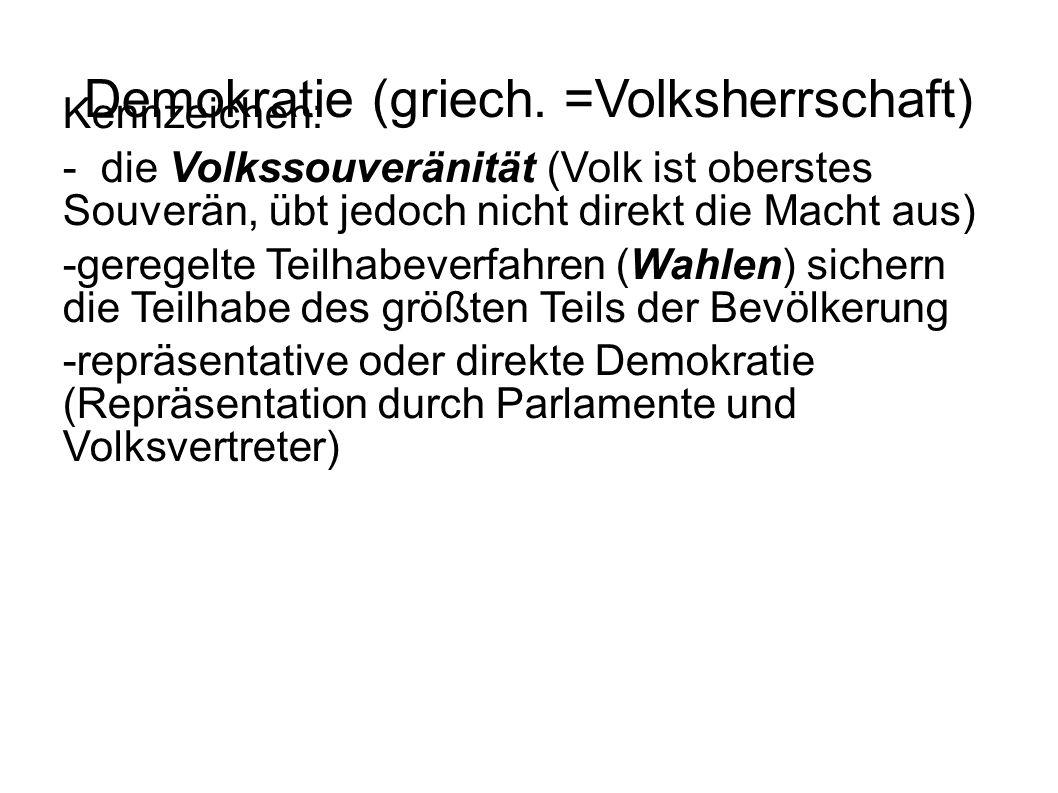 Demokratie (griech. =Volksherrschaft) Kennzeichen: - die Volkssouveränität (Volk ist oberstes Souverän, übt jedoch nicht direkt die Macht aus) -gerege
