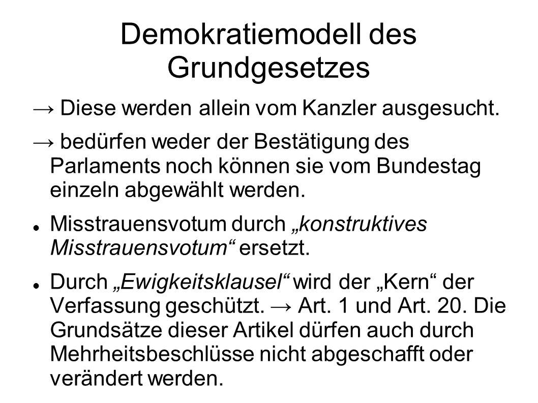 Demokratiemodell des Grundgesetzes Diese werden allein vom Kanzler ausgesucht. bedürfen weder der Bestätigung des Parlaments noch können sie vom Bunde