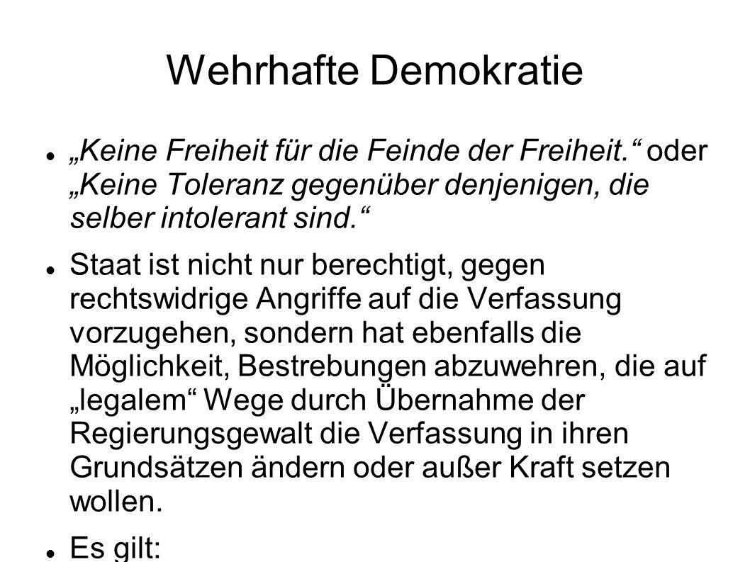 Wehrhafte Demokratie Keine Freiheit für die Feinde der Freiheit. oder Keine Toleranz gegenüber denjenigen, die selber intolerant sind. Staat ist nicht