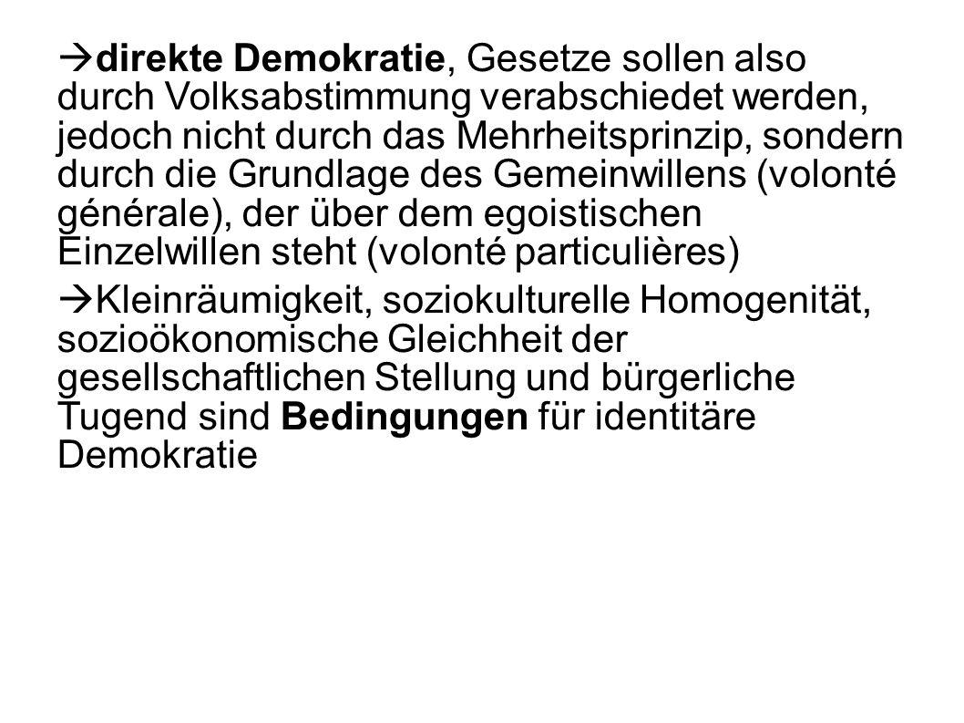direkte Demokratie, Gesetze sollen also durch Volksabstimmung verabschiedet werden, jedoch nicht durch das Mehrheitsprinzip, sondern durch die Grundla