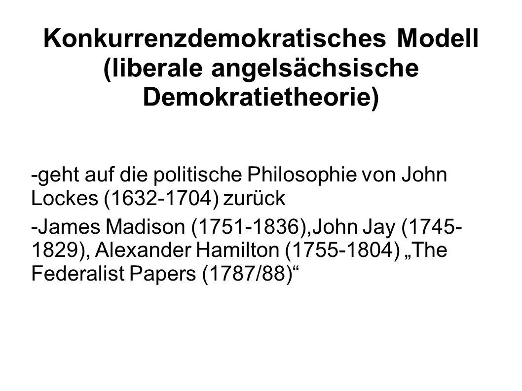 Konkurrenzdemokratisches Modell (liberale angelsächsische Demokratietheorie) -geht auf die politische Philosophie von John Lockes (1632-1704) zurück -