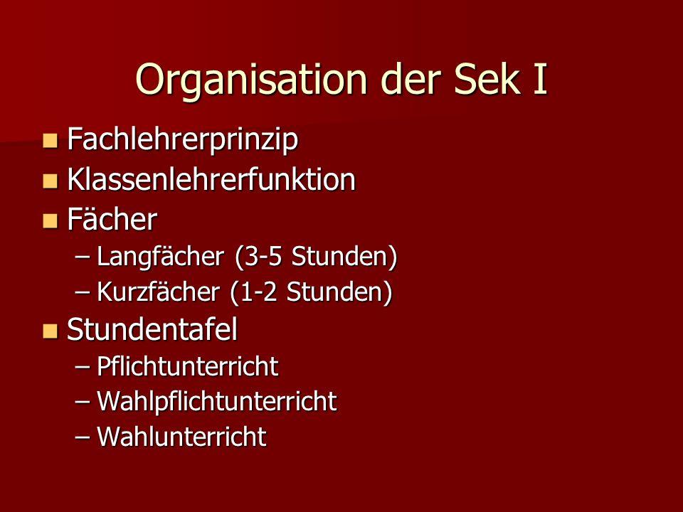 Organisation der Sek I Fachlehrerprinzip Fachlehrerprinzip Klassenlehrerfunktion Klassenlehrerfunktion Fächer Fächer –Langfächer (3-5 Stunden) –Kurzfä