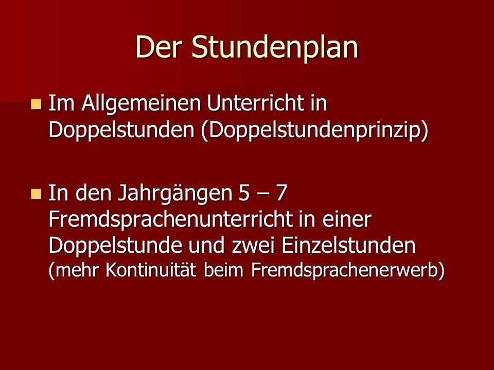 Der Stundenplan Im Allgemeinen Unterricht in Doppelstunden (Doppelstundenprinzip) Im Allgemeinen Unterricht in Doppelstunden (Doppelstundenprinzip) In