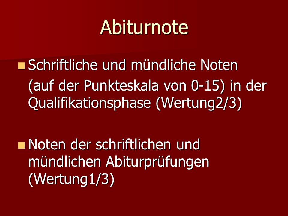 Abiturnote Schriftliche und mündliche Noten Schriftliche und mündliche Noten (auf der Punkteskala von 0-15) in der Qualifikationsphase (Wertung2/3) No