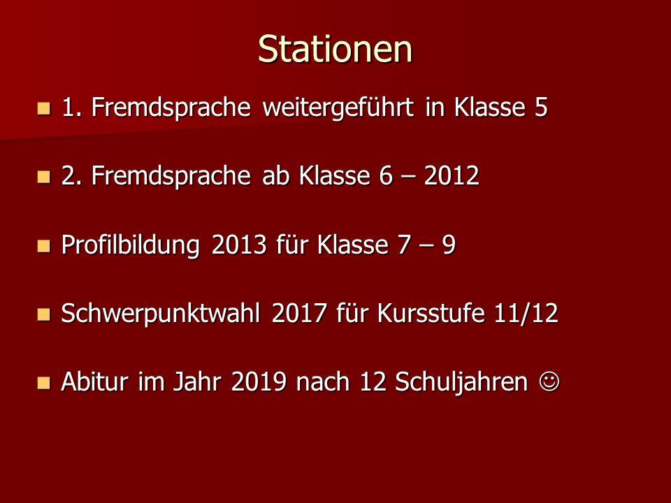 Stationen 1. Fremdsprache weitergeführt in Klasse 5 1. Fremdsprache weitergeführt in Klasse 5 2. Fremdsprache ab Klasse 6 – 2012 2. Fremdsprache ab Kl