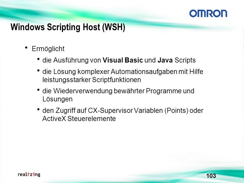 103 Windows Scripting Host (WSH) Ermöglicht die Ausführung von Visual Basic und Java Scripts die Lösung komplexer Automationsaufgaben mit Hilfe leistu