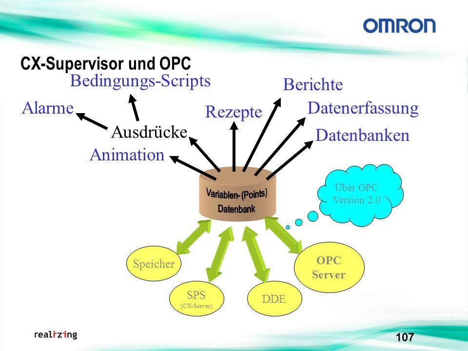 107 CX-Supervisor und OPC DDE Speicher SPS (CX-Server) OPC Server Über OPC Version 2.0 Animation Ausdrücke Alarme Bedingungs-Scripts Rezepte Berichte