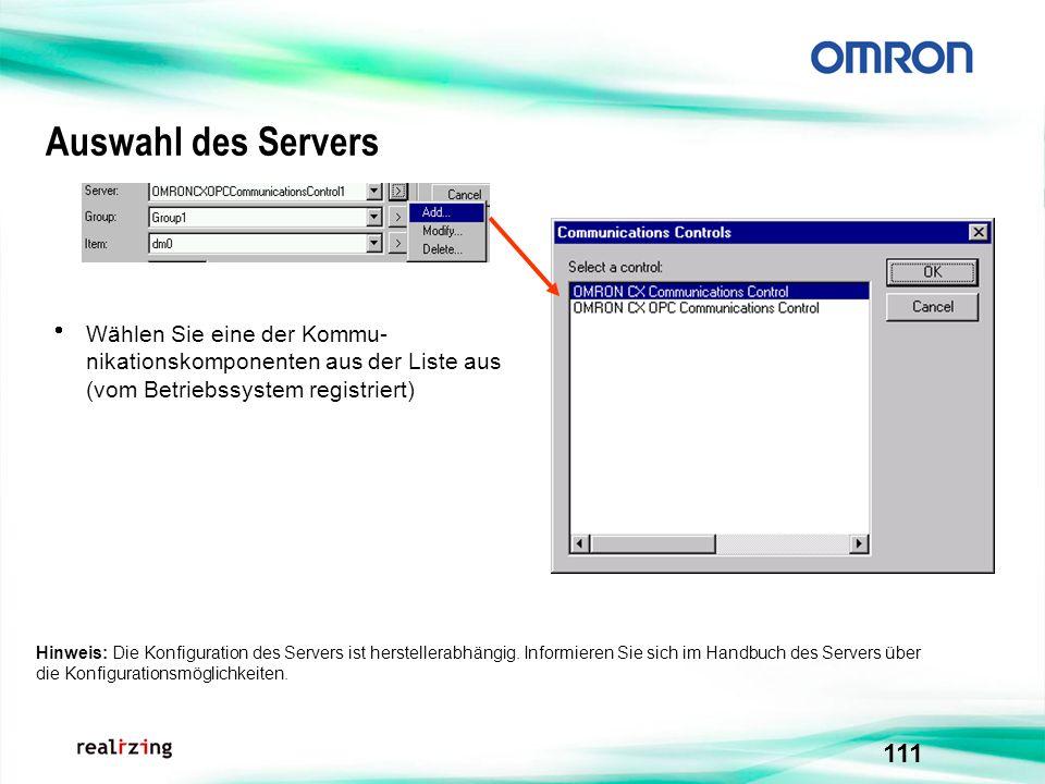 111 Auswahl des Servers Hinweis: Die Konfiguration des Servers ist herstellerabhängig. Informieren Sie sich im Handbuch des Servers über die Konfigura