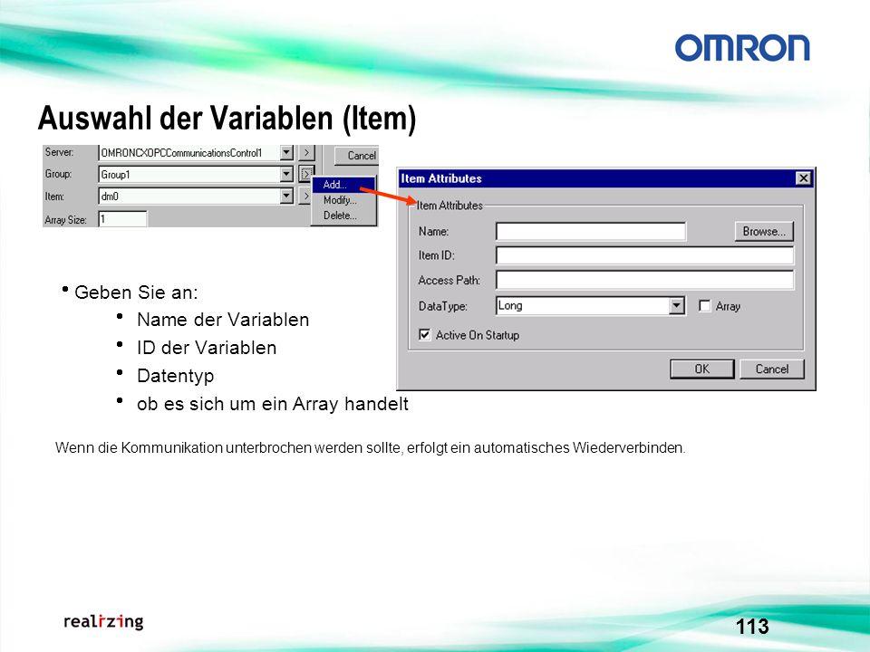 113 Auswahl der Variablen (Item) Geben Sie an: Name der Variablen ID der Variablen Datentyp ob es sich um ein Array handelt Wenn die Kommunikation unt