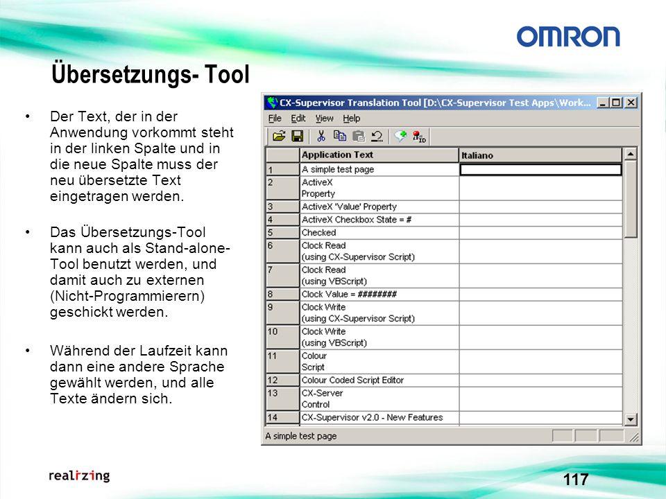 117 Übersetzungs- Tool Der Text, der in der Anwendung vorkommt steht in der linken Spalte und in die neue Spalte muss der neu übersetzte Text eingetra