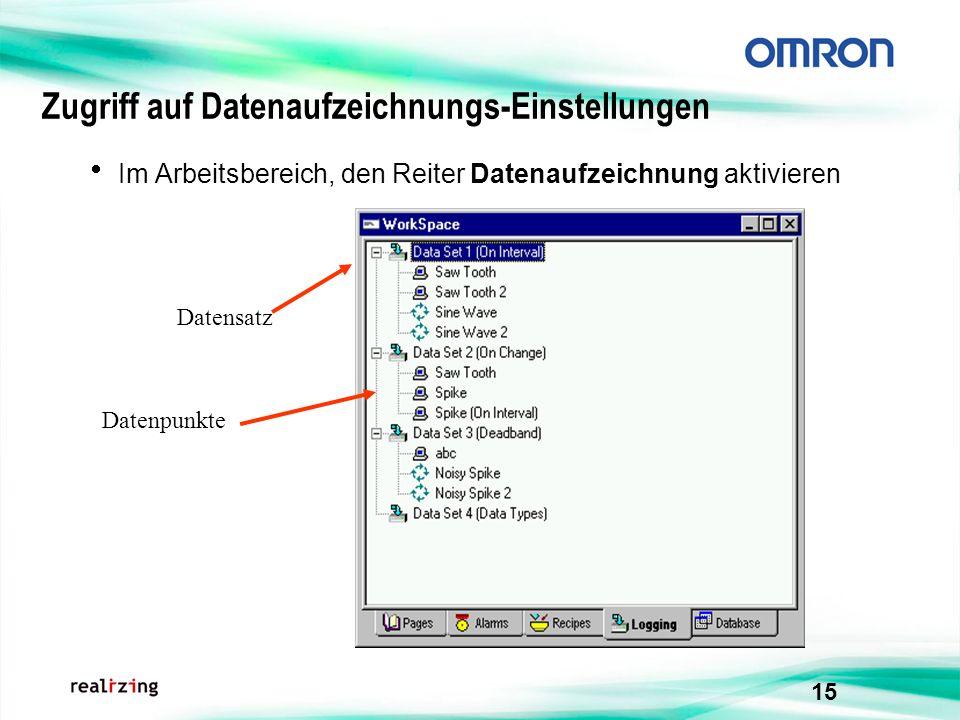 15 Zugriff auf Datenaufzeichnungs-Einstellungen Im Arbeitsbereich, den Reiter Datenaufzeichnung aktivieren Datensatz Datenpunkte