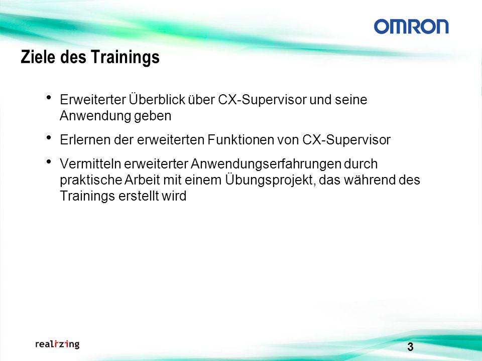 3 Ziele des Trainings Erweiterter Überblick über CX-Supervisor und seine Anwendung geben Erlernen der erweiterten Funktionen von CX-Supervisor Vermitt