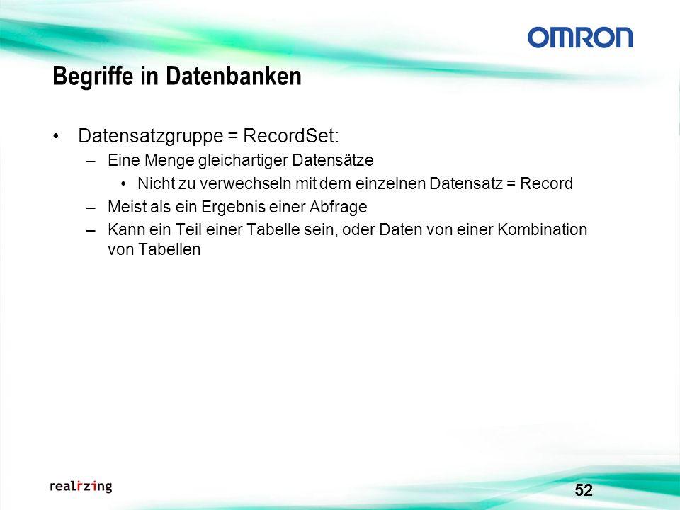 52 Begriffe in Datenbanken Datensatzgruppe = RecordSet: –Eine Menge gleichartiger Datensätze Nicht zu verwechseln mit dem einzelnen Datensatz = Record