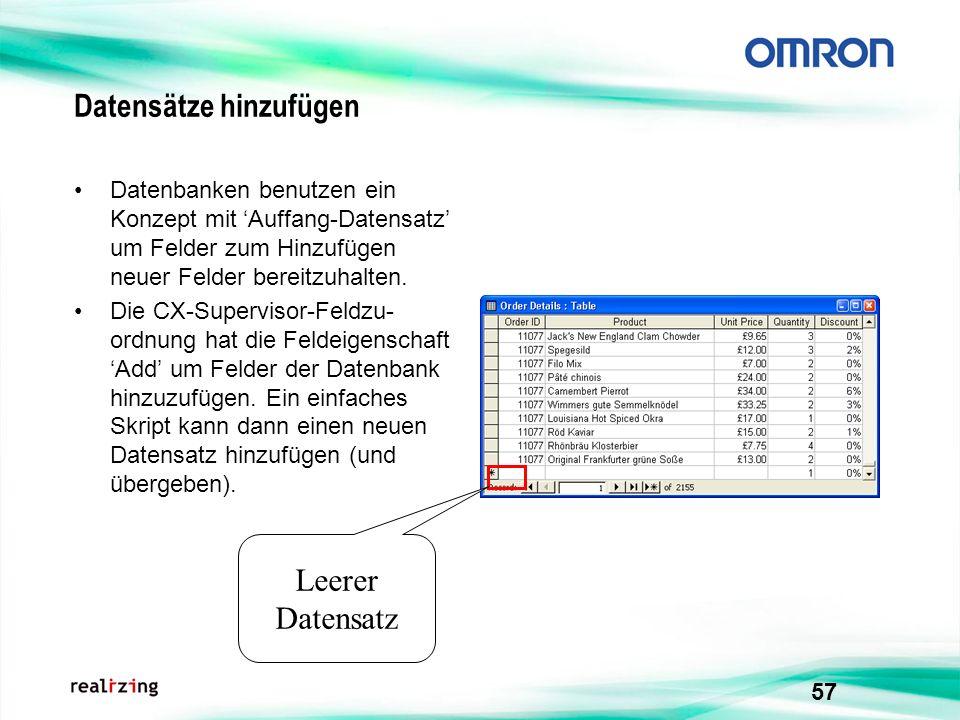 57 Datensätze hinzufügen Datenbanken benutzen ein Konzept mit Auffang-Datensatz um Felder zum Hinzufügen neuer Felder bereitzuhalten. Die CX-Superviso