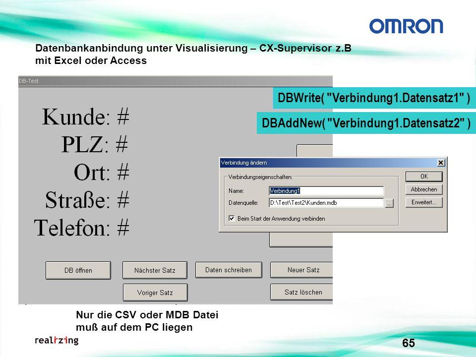 65 Datenbankanbindung unter Visualisierung – CX-Supervisor z.B mit Excel oder Access DBWrite(